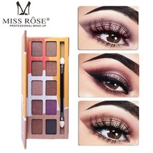 MISS ROSE 10 Colors Eyeshadow Makeup Palette Waterproof Shiny Pigment Eye Shadow Powder Cosmetics Fashion Eyes