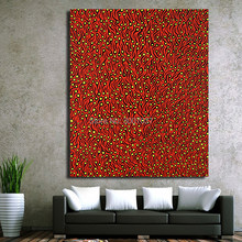 Hand Painted Oil Painting Yayoi Kusama Red tadpole Abstract picture for Home Decorative Art Picture on Canvas Paintings Wall Art(China)
