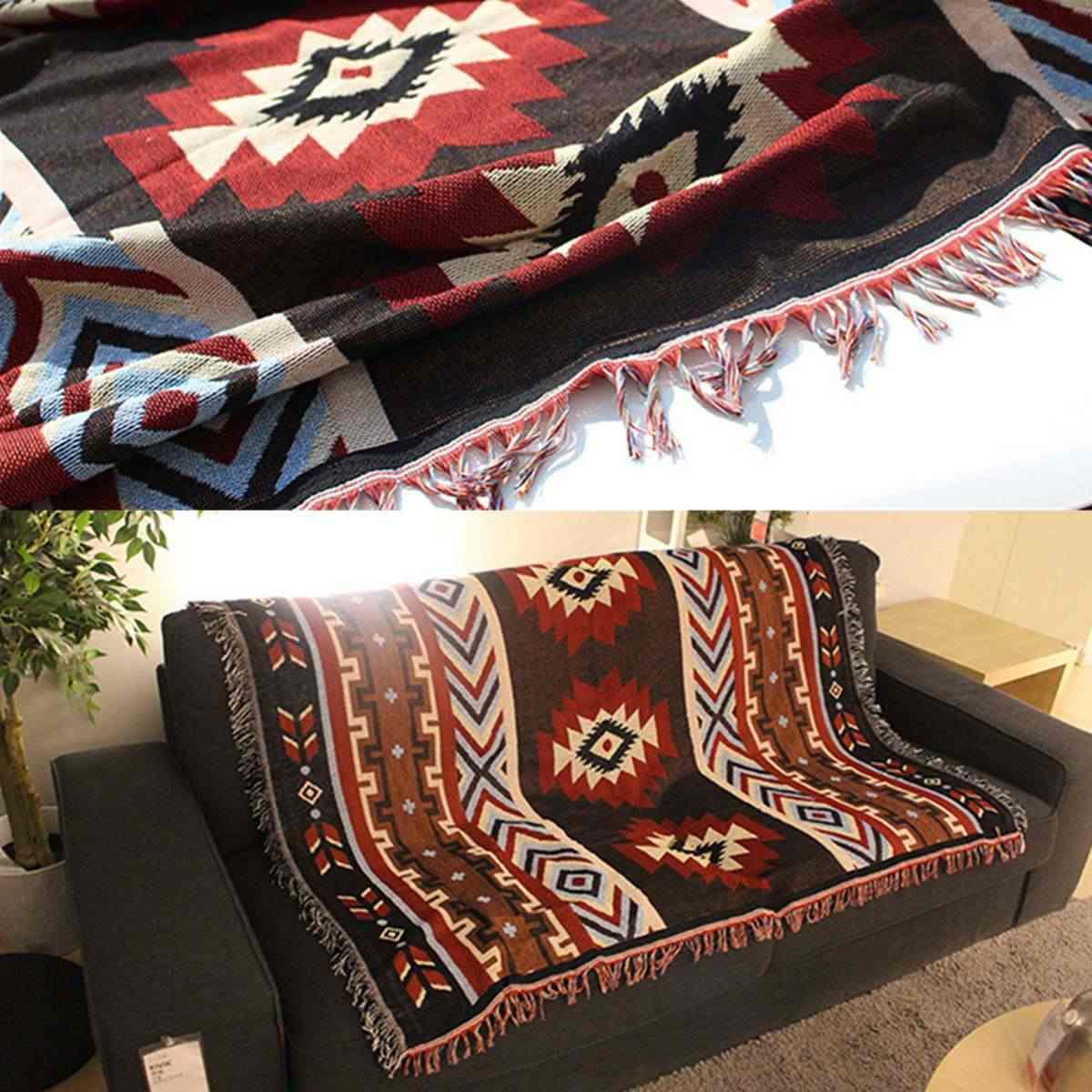 Aztec Navajo Ném Chăn Mat Tường Treo Bông Thảm Mat Khăn Dệt Hình Học Dệt May Bộ Đồ Giường Trang Trí Nội Thất 130x160 cm