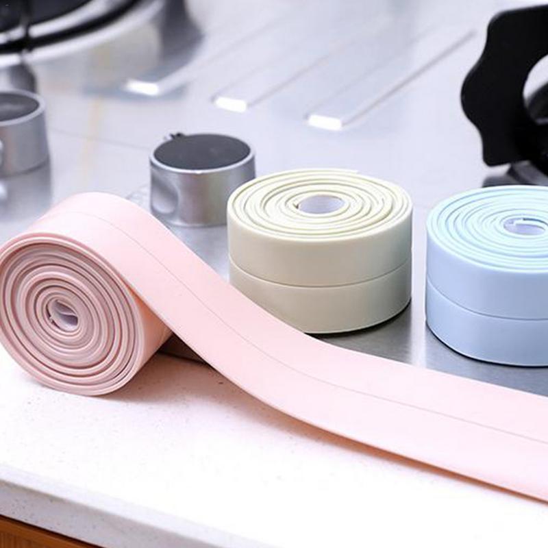 1 Roll Self Adhesive Kitchen Ceramic Sticker Waterproof Anti-moisture PVC Sticker Bathroom Wall Corner Line Sink Stickers 3*2.5m sticker