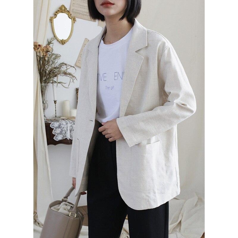 Coton Printemps Mince Bouton Décontracté D'été Petit Paresseux blanc Un Corée Apricot Court Et Section Simple 2019 Nouvelle Lin Costume Veste bleu dCxoBe