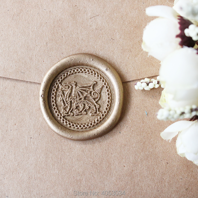 Welsh Wedding Invitations: Welsh Dragon Wax Stamp Seal Stamping Custom Initial Date