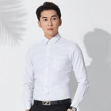 8633a9a1fe2 Плюс размеры 8XL для мужчин работы рубашка с длинными рукавами s  повседневные тонкие рубашки Fit Большой