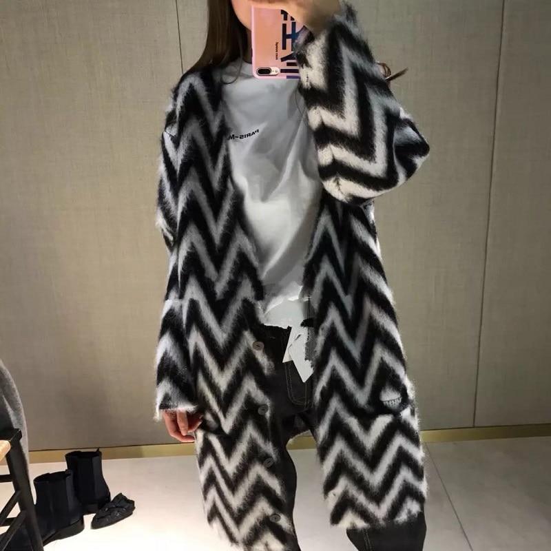 2018 Piste Noir Femmes Femelle Cardigan Vêtements Longues Jumper Rayé Pulls À Hiver Tricoté Chandail Blanc Mohair Manches Harajuku rqEwnrzF1p