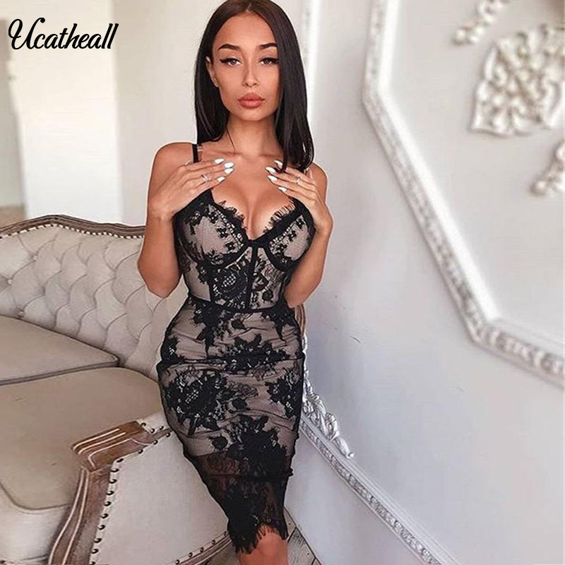 <font><b>Sexy</b></font> Embroidered Women <font><b>Lace</b></font> <font><b>Dress</b></font> Strap Sheath Bodycon Bandage <font><b>Dress</b></font> <font><b>Hollow</b></font> Out <font><b>Backless</b></font> V Neck Party NightClub Vestidos image