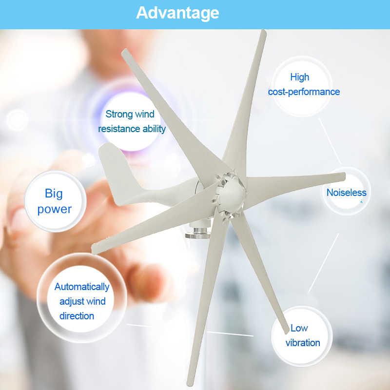 800w 12v 24 V 48 Volt 6 Nylon Fiber Blade Horizontal Home Wind Turbine Generator