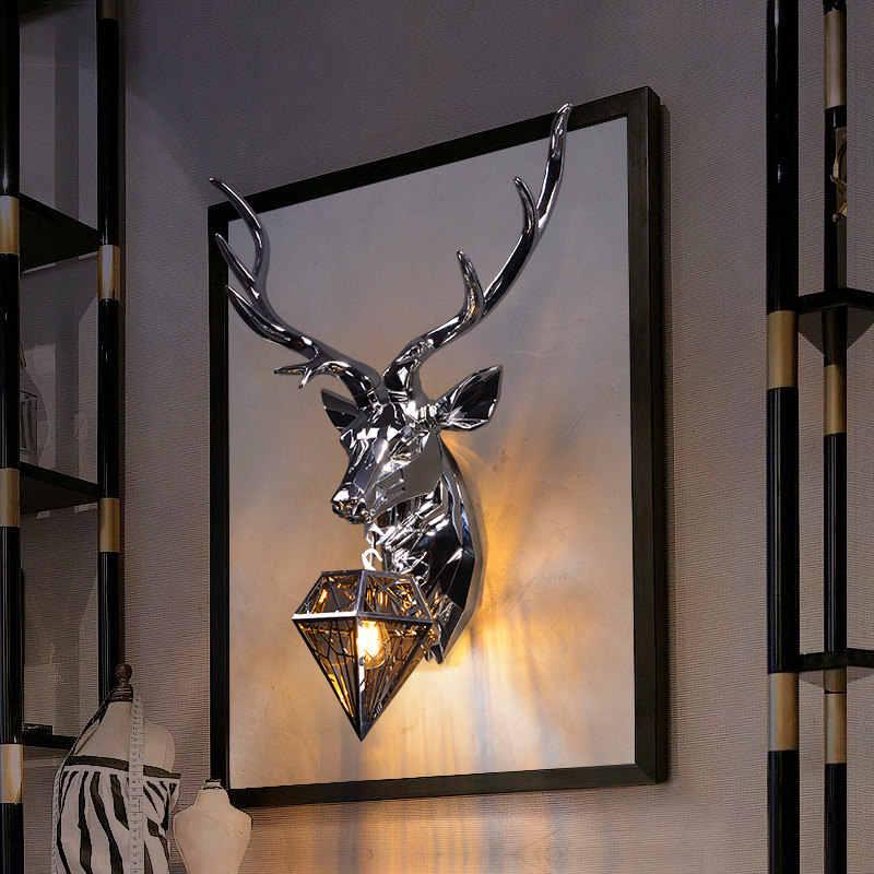 Современный американский Ретро Олень светодиодный настенный светильник рога светодиодный настенный светильник для гостиной спальни прикроватный Светильник Бра Домашний Светильник
