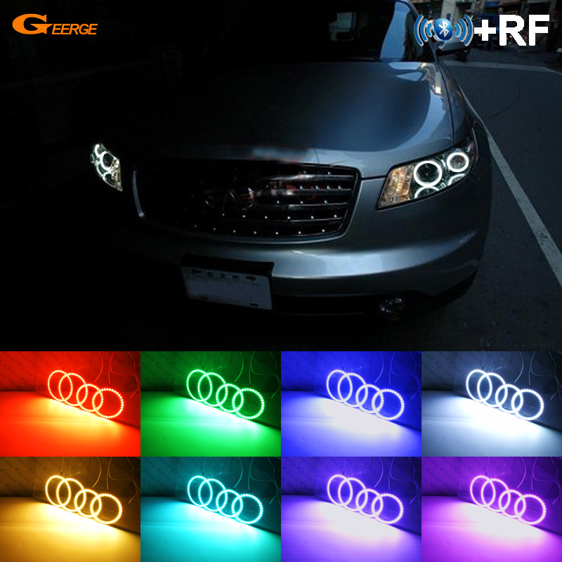 For INFINITI FX35 FX45 2003 2004 2005 2006 2007 2008 RF Bluetooth Controller Multi-Color Ultra bright RGB LED Angel Eyes kitFor INFINITI FX35 FX45 2003 2004 2005 2006 2007 2008 RF Bluetooth Controller Multi-Color Ultra bright RGB LED Angel Eyes kit