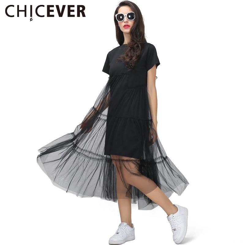 [CHICEVER] Zomer Koreaanse Plus Size Splicing Geplooid Mesh T-shirt Jurk Dames Zwart Grijs Kleur Kleding Nieuwe Mode