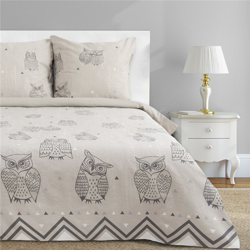 Bed Linen Ethel Euro Ушастые Owl (Type 2) 200x217 cm, 220x240 cm, 70x70-2 pcs, calico