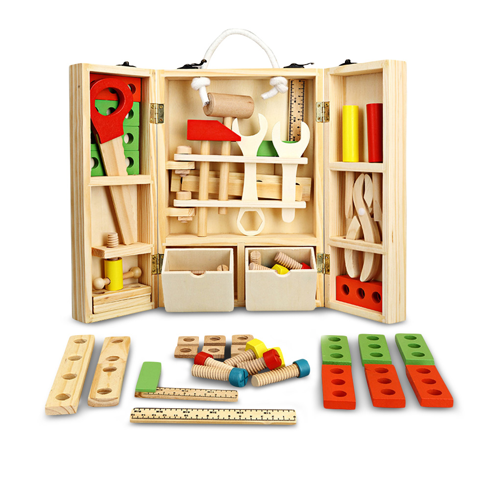 Portable Children DIY Wooden Repair Tool Kit Pretend Play Toy Set of Repair Tools Building Construction Toys Xmas Gifts For Kids