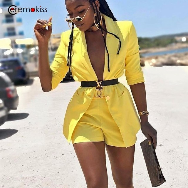 Ceremokiss 2 Piece Set Tracksuit Women Suit Set Female Blazers Formal Two Piece Sets Shorts Ladies Outfits Festival Clothing