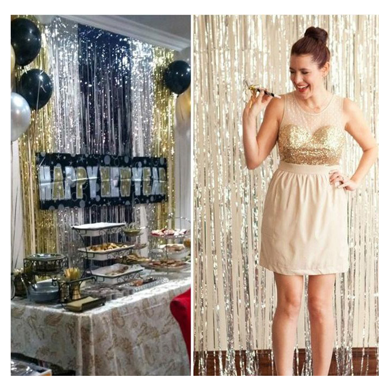 Image 3 - Party Backdrop Wedding Backdrop 2M 3M Gold Tinsel Curtain Wedding Decoration Photo Curtains Birthday Decoration Party Curtains-in Party Backdrops from Home & Garden