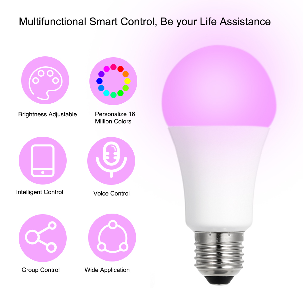 8W E27 led bulb RGBW Intelligent Bulb(Zigbee Version) Smart Phone App Control Adjustable Color and Brightness for Android/ IOS