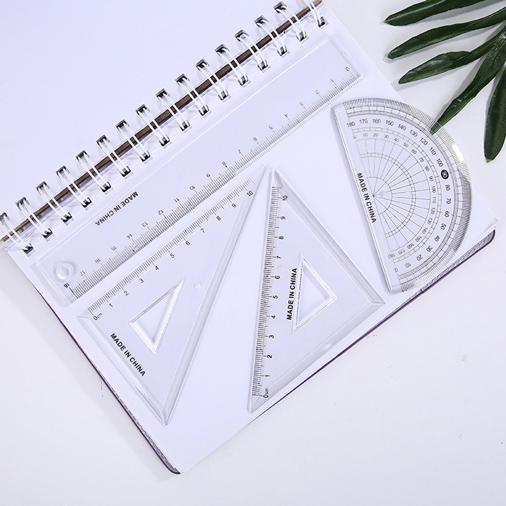 4pcs/pack Students Drawing Ruler Set Square Triangle Protractor Geometry Ruler School Office Supplies Math Geometry Artists #17