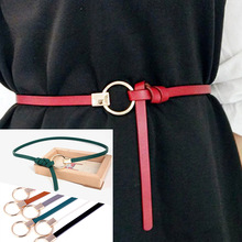 Lady Faux Leather Belts Round Metal Buckle Skinny Leather Thin Belt Dress Strap Knotted Waist Belt Solid Color PU Accessories