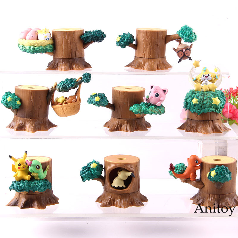 Pikachu 8 Modelo Figura Charizard De Madera Muñón Árbol Acción Juguete Colección Pila Eevee wXkPn08O