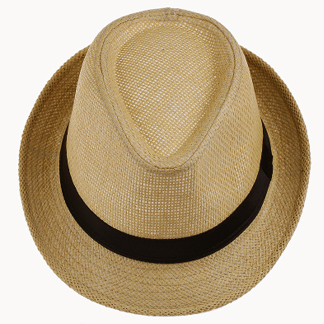 1pc Summer Cap Ribbon Unisex Women Men Fashion Summer Casual Trendy Beach Sun Straw Jazz Hat Cowboy Fedora hat Gangster in Women 39 s Sun Hats from Apparel Accessories