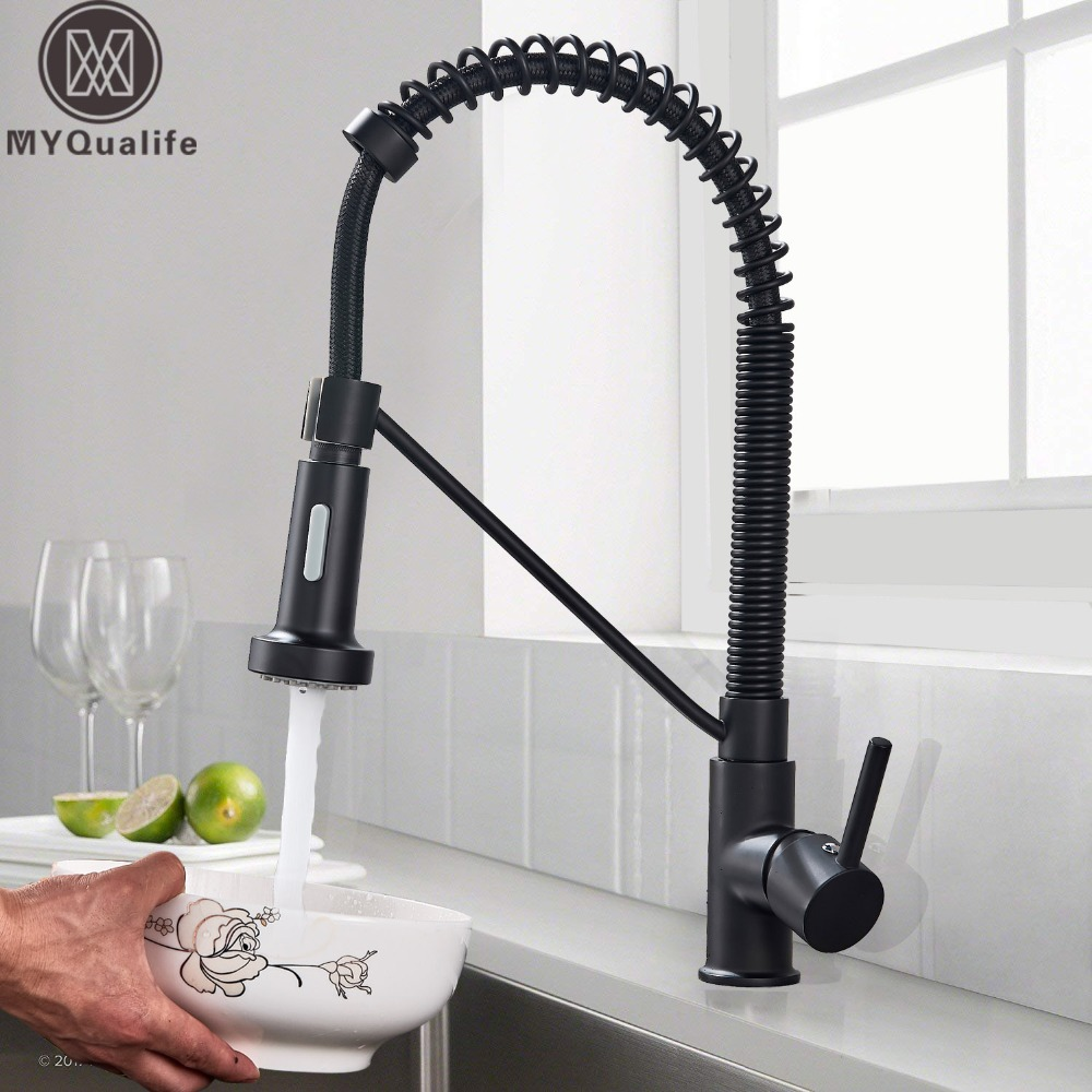 Black Kitchen Sink Faucet.Us 47 0 40 Off Matte Black Pull Down Spout Kitchen Faucet 2 Function Head Kitchen Sink Mixers Deck Mounted Spring Kitchen Mixer Faucet In Kitchen
