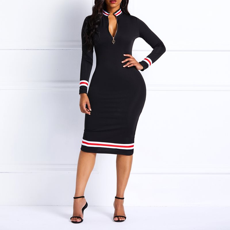 Women Midi Dresses Elegant Sexy Black Office Lady Casual Hot Bodycon Zipper Stripe Turtleneck Female Fashion Red Spring Dress in Dresses from Women 39 s Clothing