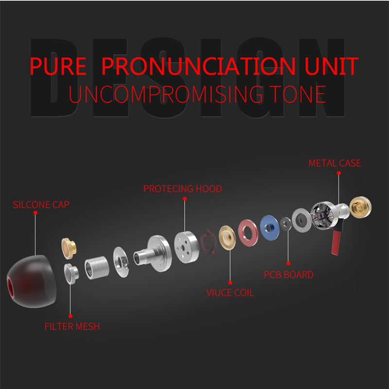 Rankman Stereo Bass Earphone In-ear Metal Clear Sound Earphone HiFi 3 5mm  Wired Earbuds with Mic for Mobile Phone PC MP3