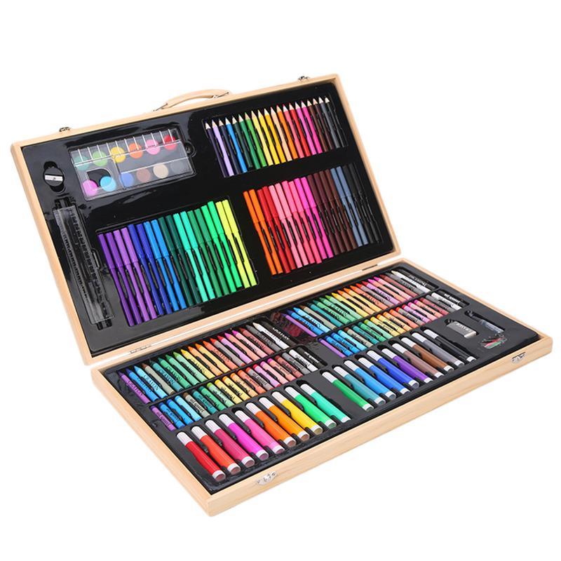 Art créatif fournitures de peinture outils de peinture portables ensemble pour enfants Crayons de couleur Crayons aquarelle stylos ensemble fournitures d'art