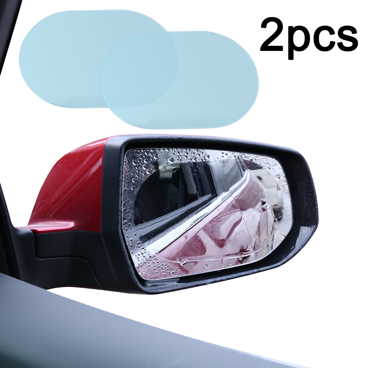 Mayitr 2Pcs 140*100 Mm Oval Mobil Anti Air Kabut Kabut Film Yg Tahan Hujan Kaca Spion Jendela Film Pelindung