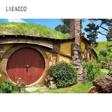 Laeacco Wooden Round Door Hill House Scene Backdrop Photography Backgrounds Customized Photographic Backdrops For Photo Studio