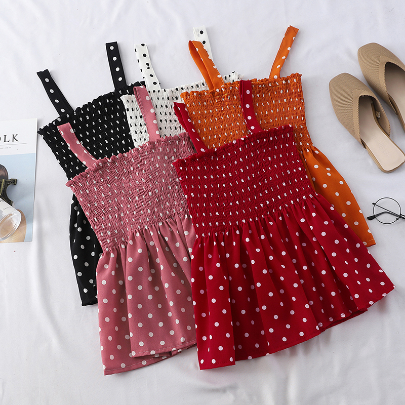 Summer Women Polka Dots   Tank     Tops   Korean Fashion Summer Ruffles Sleeveless   Tops     Tops   Mujer Verano 2019