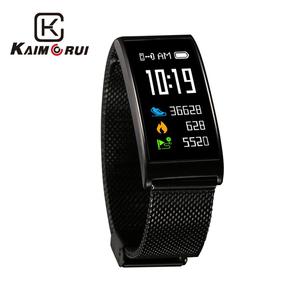 Kaimorui умный Браслет IP68 водонепроницаемый цветной экран Шагомер монитор сердечного ритма браслет из нержавеющей стали Bluetooth