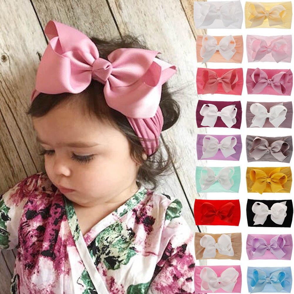 Toddler Girls Kids Baby Big Bow Hairbands Headband Stretch Turban Knot Head Wrap