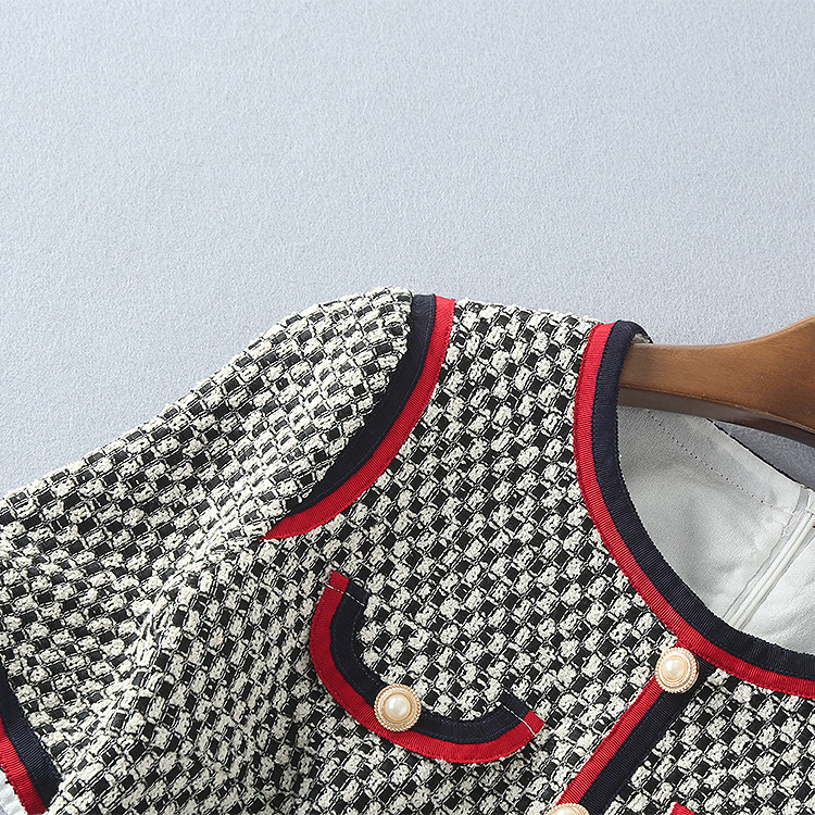 Robes Élégante Manches Color Col Robe Automne Tweed Qualité Rouge À Courtes Femme Nouvelle Picture Rond Taille Haute w0O6xCqHa