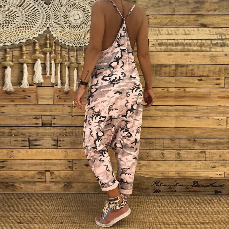 Women Camouflage Overalls 2020 Summer V Neck Playsuit Macacao Casual Feminino Strap Jumpsuits Long Pants Drop Crotch Pantalon