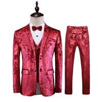 Костюм из 3 предметов Для мужчин корейской моды Для мужчин Цветочные костюмы Slim Fit Ночной клуб/выпускного вечера/вечерние/нежный Для мужчин