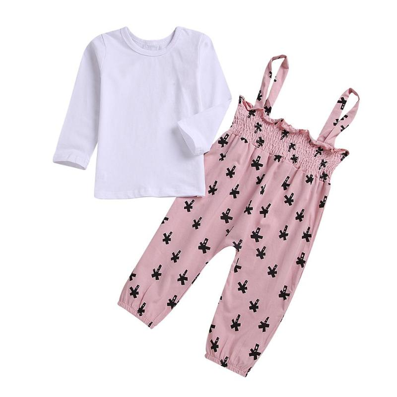 Women Autumn Clothes Set 2pcs Children Cute Stable Colour Lengthy Sleeve T-shirt Deer Print Overalls Swimsuit Cotton Mix Outfits Scorching Clothes Units, Low-cost Clothes Units, Women Autumn Clothes Set...