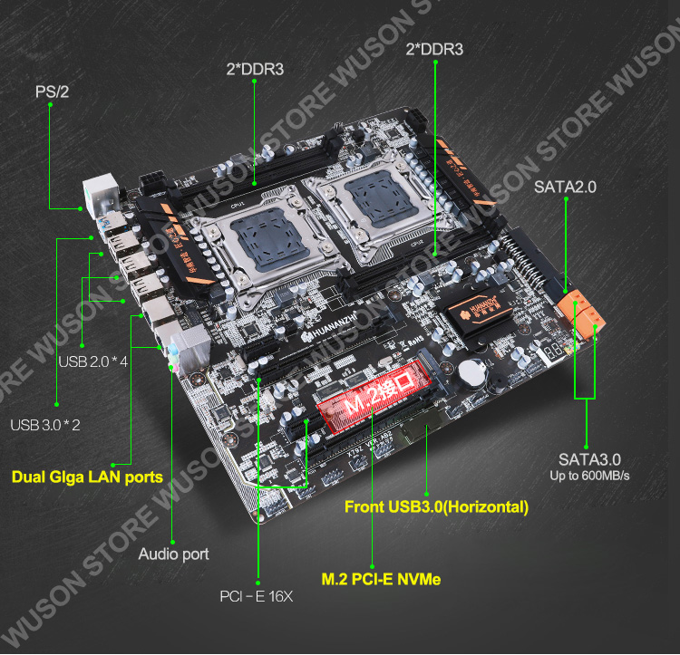 Image 3 - Discount motherboard bundle HUANAN ZHI dual X79 LGA2011 motherboard with M.2 slot dual CPU Intel Xeon E5 2670 V2 RAM 64G(4*16G)-in Motherboards from Computer & Office