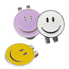 3 Sets of Cute Smile Face Golf Mark with Magnetic Hat Clip (White + Purple Yellow) x 3cm