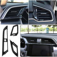 3pcs New And High Quality ABS with Carbon Fiber spray paint Dashboard Air Vent Cover Set fits for Honda Civic 10th 2016 2017