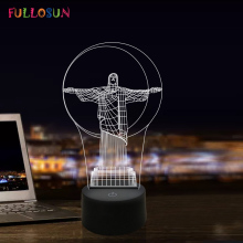 Colourful 3D Illusion Night Light LED Jesus USB Bedside Lamp Creative Gift for Bedroom Decoration Nightlights
