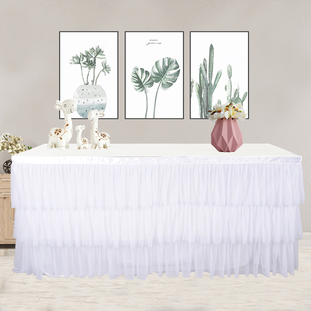 180 x 75cm Table Skirt Tutu Tulle Table Cloth For Party Dinner Wedding Decoration Home Decoration Table Decoration in Table Skirts from Home Garden