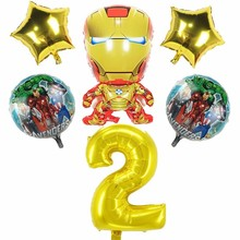 6pcs Large Iron Man Foil Ballons Super Hero Birthday Party Decoration Kids 40inch Number Babyshower Boy And Girl Toy