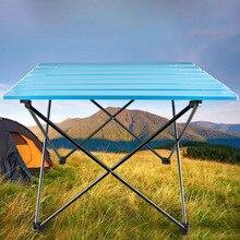 Alta carga rodamiento portátil plegable muebles al aire libre Camping plegable mesa de Picnic aleación de aluminio hacer té barbacoa Escritorio