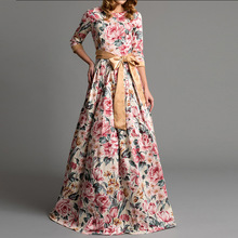 Autumn and winter womens elegant party long dress Bohemian flower print 2018 female