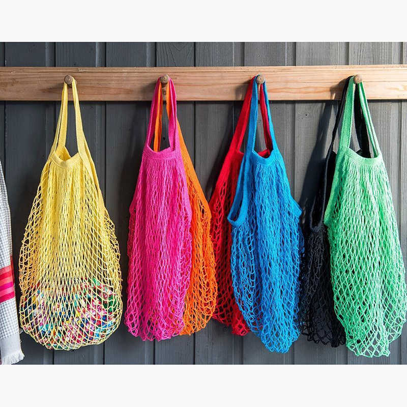 Многоразовая струнная хозяйственная продуктовая сумка шоппер сумка сетка тканая Хлопковая сумка Повседневная Защита окружающей среды низкий углерод новая распродажа