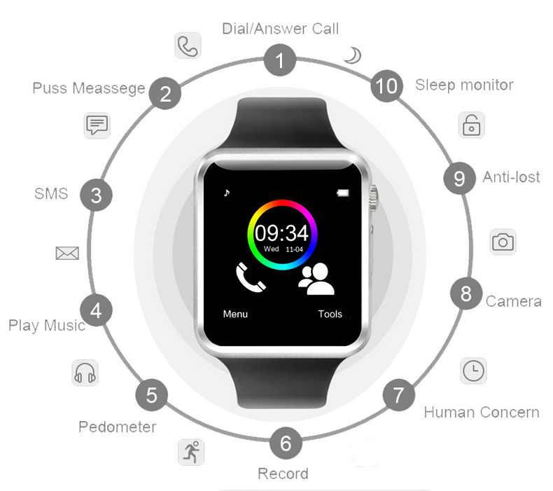 Reloj inteligente A1 Bluetooth para hombre, reloj de pulsera deportivo compatible con 2G SIM tarjeta TF de cámara, reloj inteligente para teléfono Android PK GT08 DZ09 Q18 Y1 V8