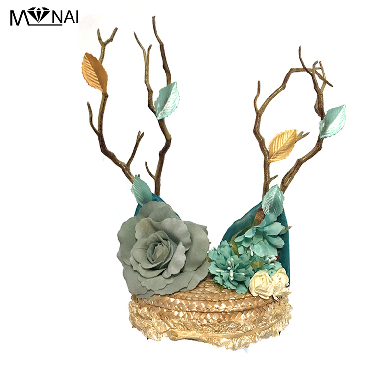 Vintage Women Fascinator Gothic Mini Top Hat Punk Floral Flowers Hairpin Tree Branch Leaves Party Headwear Hair Accessories