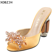 High Heels Sandals Women Shoes 2019 Sexy Ladies Luxury Leather Rhinestone Summer Sandals block heel wedding Shoes Woman Open Toe недорго, оригинальная цена