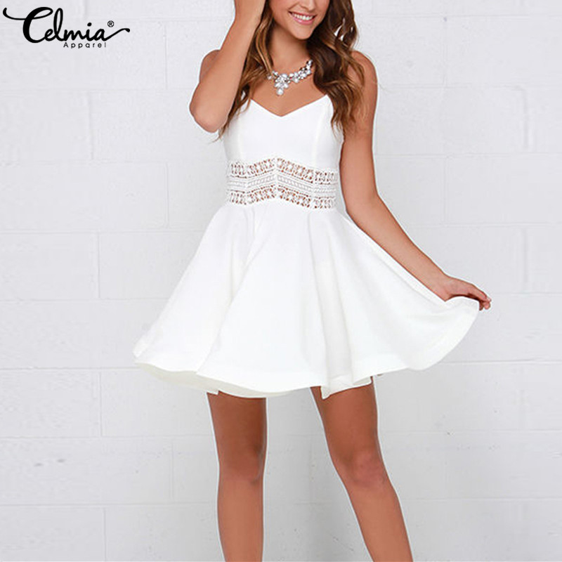 Celmia Bohemian 2019 Summer Dress Women Plus Size Sexy Strap V Neck Crochet Lace White Skater Vestidos Casual Party Mini Dress