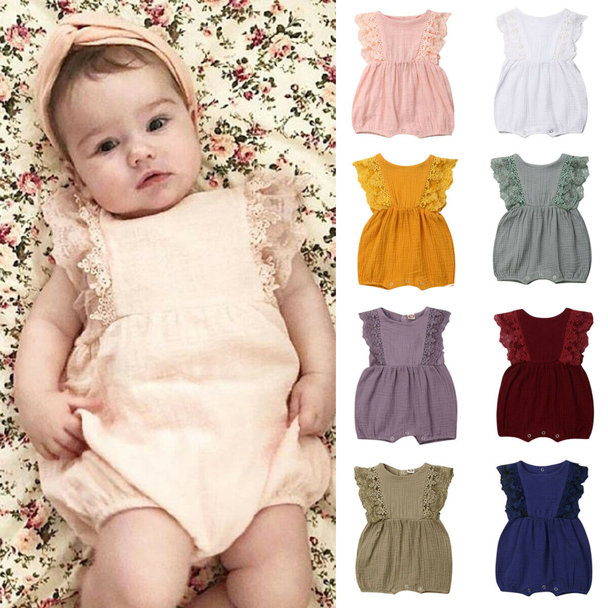 Newborn Infant Baby Girl Lace Sleeve Linen Romper Jumpsuit Sleeveless Playsuit Outfit with Headband Summer Clothes