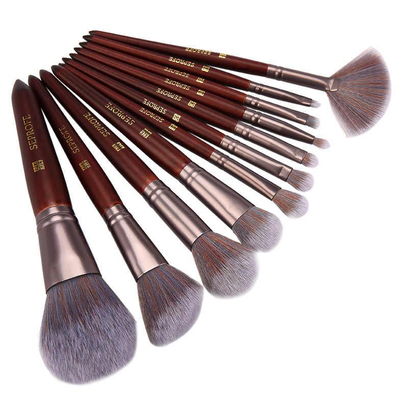 SEPROFE zestaw pędzli do makijażu Powder Foundation Eyeshadow pędzle do makijażu kosmetyki miękkie włosy syntetyczne z fantazyjną kosmetyczka